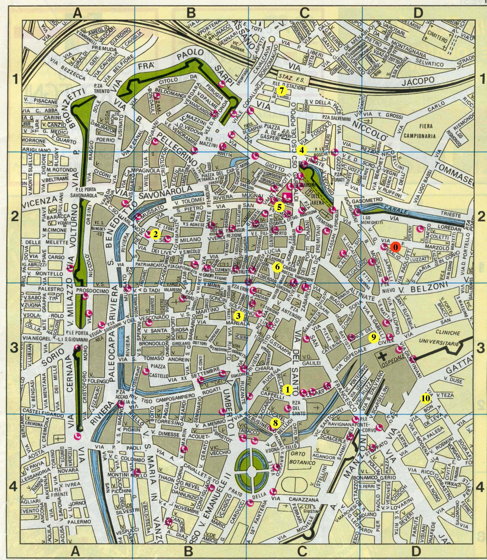 Detailed city map of Padova, street map